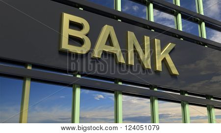 Bank building sign closeup, with sky reflecting in the glass. 3d rendering