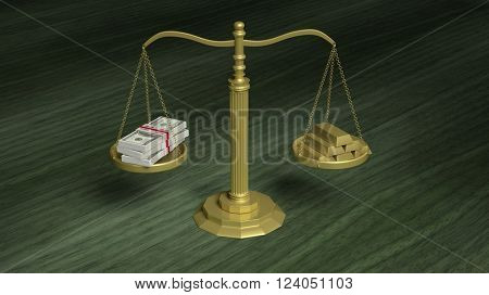 Balance scale with Dollar packs and gold bars wooden surface, 3d rendering