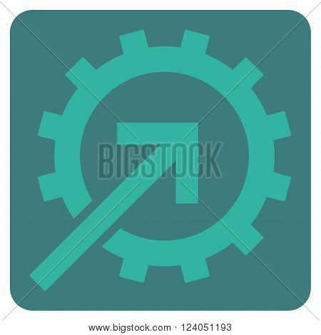 Cog Integration vector icon symbol. Image style is bicolor flat cog integration icon symbol drawn on a rounded square with cobalt and cyan colors.
