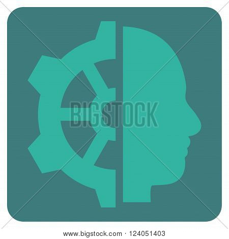 Cyborg Gear vector icon symbol. Image style is bicolor flat cyborg gear iconic symbol drawn on a rounded square with cobalt and cyan colors.