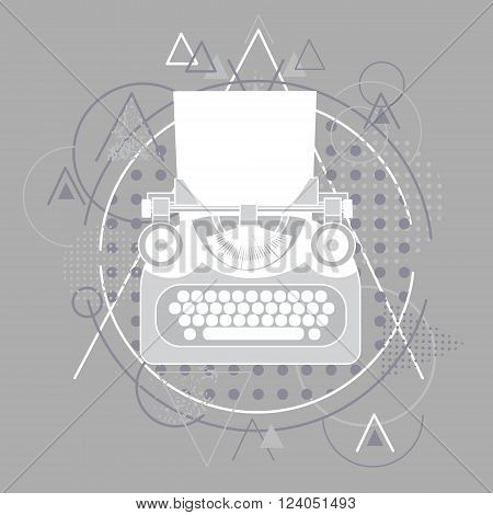 Typewriter Icon Retro Style Abstract Triangular Grey Background Sketch Line Vector Illustration
