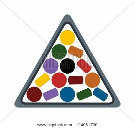 Represents numbered balls of billiard and billiard balls isolated on white. Pool billiard balls rack commonly used starting position flat vector illustration.