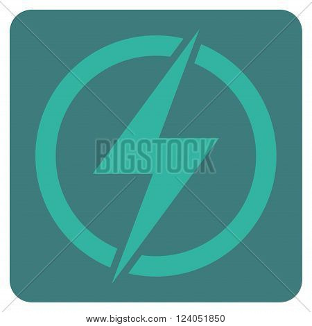 Electricity vector pictogram. Image style is bicolor flat electricity icon symbol drawn on a rounded square with cobalt and cyan colors.