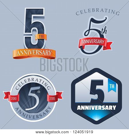 A Set of Symbols Representing a 5 Years Anniversary/Jubilee Celebration