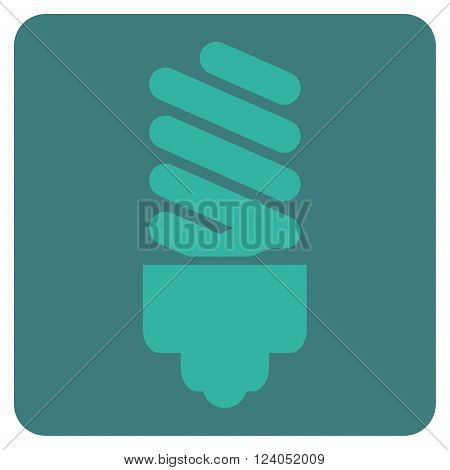 Fluorescent Bulb vector symbol. Image style is bicolor flat fluorescent bulb icon symbol drawn on a rounded square with cobalt and cyan colors.