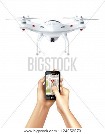 Unmanned drone and smartphone with navigation app in human hands realistic concept vector illustration