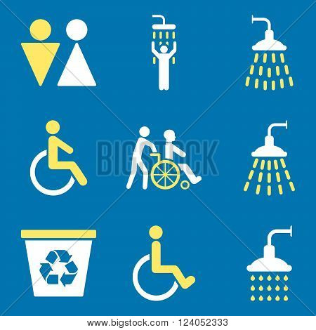 Toilet and Shower vector icon set. Style is bicolor yellow and white flat symbols isolated on a blue background.