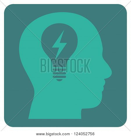 Head Bulb vector icon. Image style is bicolor flat head bulb iconic symbol drawn on a rounded square with cobalt and cyan colors.