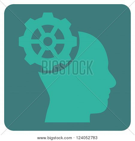Head Gear vector pictogram. Image style is bicolor flat head gear pictogram symbol drawn on a rounded square with cobalt and cyan colors.