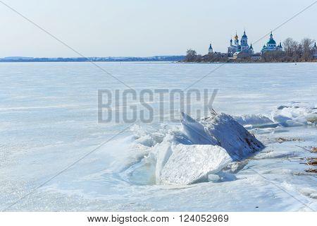 Lake Nero under ice at winter, Rostov, Yaroslavl region, Russia