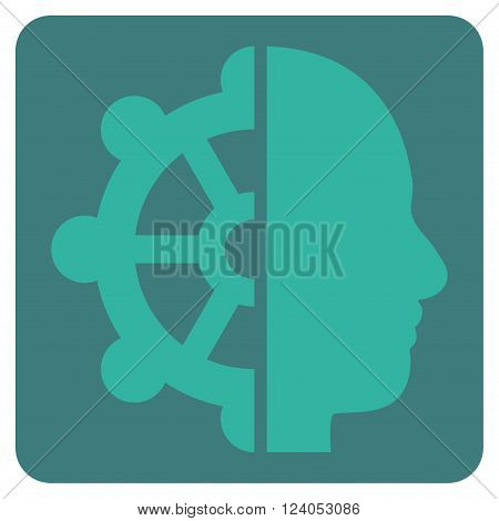 Intellect vector icon. Image style is bicolor flat intellect pictogram symbol drawn on a rounded square with cobalt and cyan colors.