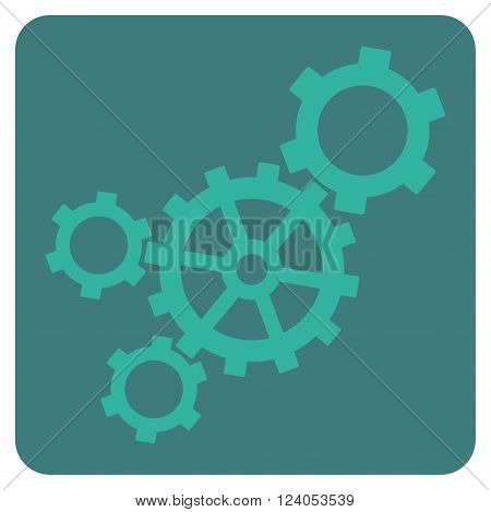Mechanism vector symbol. Image style is bicolor flat mechanism pictogram symbol drawn on a rounded square with cobalt and cyan colors.