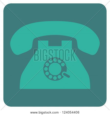 Pulse Phone vector icon symbol. Image style is bicolor flat pulse phone pictogram symbol drawn on a rounded square with cobalt and cyan colors.