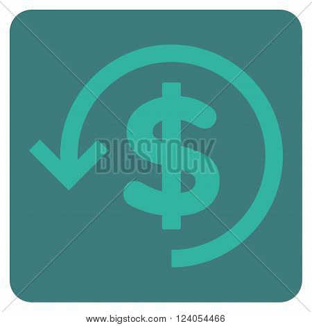 Refund vector pictogram. Image style is bicolor flat refund icon symbol drawn on a rounded square with cobalt and cyan colors.