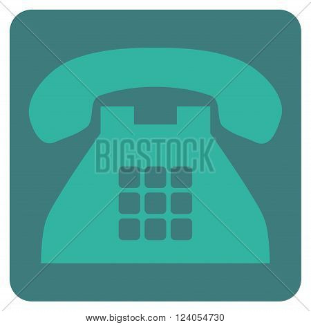 Tone Phone vector icon symbol. Image style is bicolor flat tone phone icon symbol drawn on a rounded square with cobalt and cyan colors.