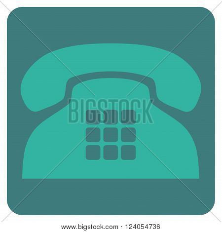 Tone Phone vector symbol. Image style is bicolor flat tone phone icon symbol drawn on a rounded square with cobalt and cyan colors.
