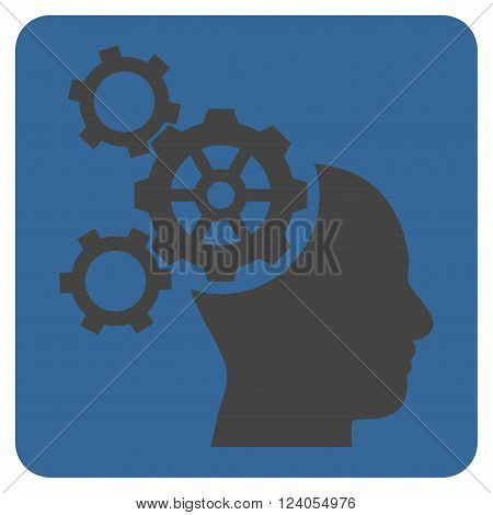 Brain Mechanics vector symbol. Image style is bicolor flat brain mechanics pictogram symbol drawn on a rounded square with cobalt and gray colors.