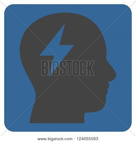 Brainstorming vector icon symbol. Image style is bicolor flat brainstorming iconic symbol drawn on a rounded square with cobalt and gray colors.