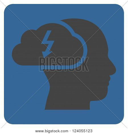 Brainstorming vector icon. Image style is bicolor flat brainstorming icon symbol drawn on a rounded square with cobalt and gray colors.