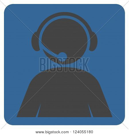 Call Center Operator vector pictogram. Image style is bicolor flat call center operator icon symbol drawn on a rounded square with cobalt and gray colors.