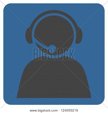Call Center Operator vector icon symbol. Image style is bicolor flat call center operator icon symbol drawn on a rounded square with cobalt and gray colors.