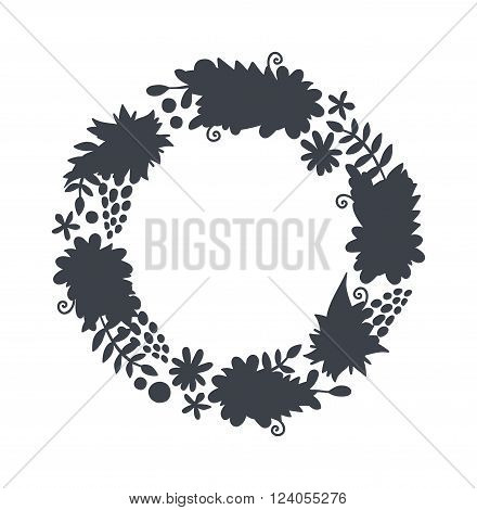 Hello spring wreath frame and vintage spring wreath silhouette design. Vector circular floral wreaths with leaves central space for your text.