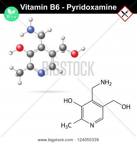 Pyridoxamine chemical formula and model, vitamin b6 group, 2d and 3d vector, eps 8