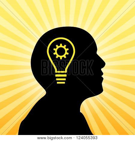 Human silhouette with idea icon, concept of insight, 2d vector on sun ray background, eps 10