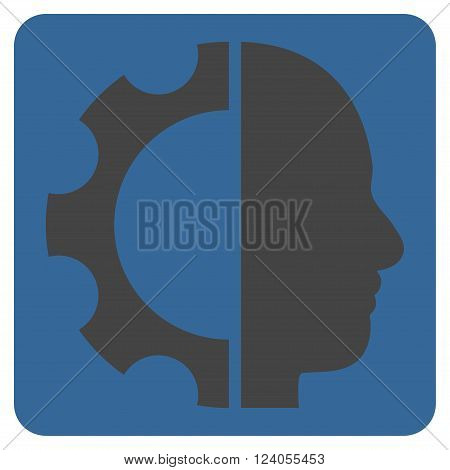 Cyborg Gear vector symbol. Image style is bicolor flat cyborg gear iconic symbol drawn on a rounded square with cobalt and gray colors.