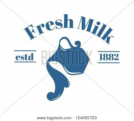 Milk jug logo dairy design and milk jug white product logo. Illustration of milk jug with text vector. Milk jug logo