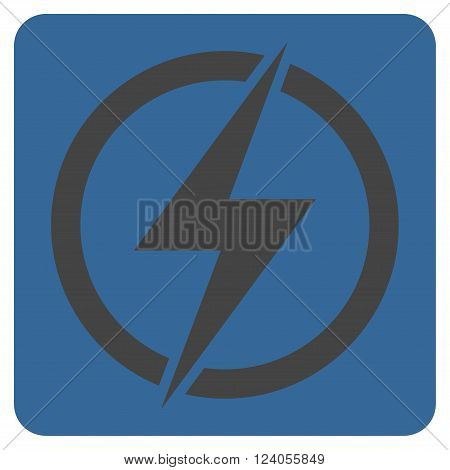 Electricity vector pictogram. Image style is bicolor flat electricity icon symbol drawn on a rounded square with cobalt and gray colors.