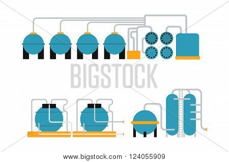 Petroleum oil gas storing container and energy oil gas metal storing vector. Oil gas storing in cargo service terminal flat vector illustration.