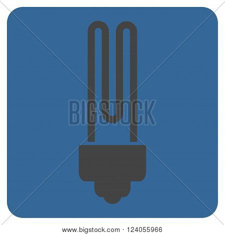 Fluorescent Bulb vector icon. Image style is bicolor flat fluorescent bulb icon symbol drawn on a rounded square with cobalt and gray colors.