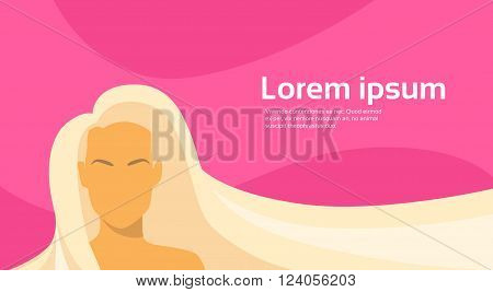 Woman Beauty Blond Long Hair Silhouette Horizontal Pink Banner Empty Copy Space Flat Vector Illustration