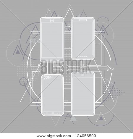 Smart Cell Phone Sketch Line Telephone Abstract Triangular Background Vector Illustration