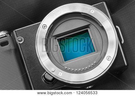 Digital camera sensor.  sensor on a digital mirrorless camera.