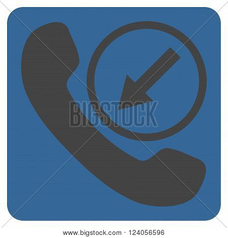 Incoming Call vector icon symbol. Image style is bicolor flat incoming call icon symbol drawn on a rounded square with cobalt and gray colors.