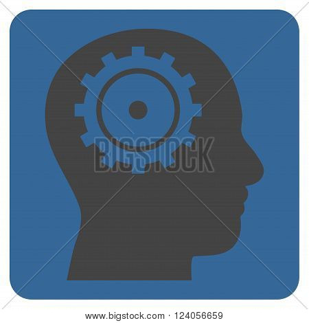 Intellect vector symbol. Image style is bicolor flat intellect iconic symbol drawn on a rounded square with cobalt and gray colors.