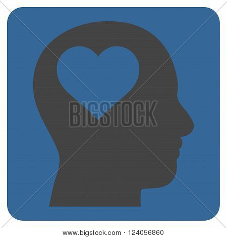 Lover Head vector icon symbol. Image style is bicolor flat lover head icon symbol drawn on a rounded square with cobalt and gray colors.