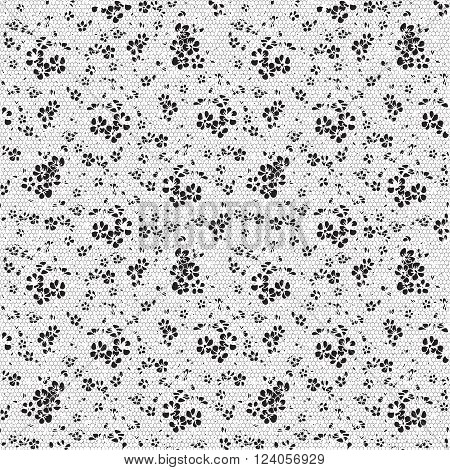 Seamless black and white pattern in the form of floral lace