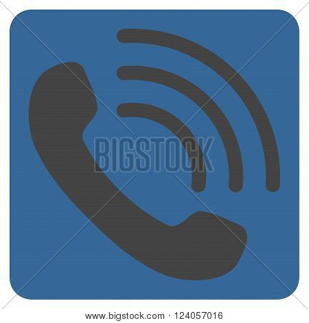 Phone Call vector icon symbol. Image style is bicolor flat phone call pictogram symbol drawn on a rounded square with cobalt and gray colors.