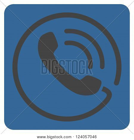 Phone Call vector symbol. Image style is bicolor flat phone call iconic symbol drawn on a rounded square with cobalt and gray colors.