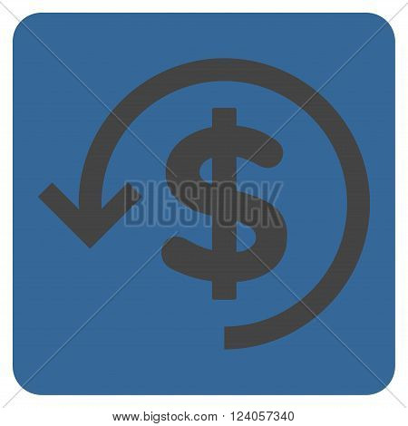 Refund vector icon symbol. Image style is bicolor flat refund icon symbol drawn on a rounded square with cobalt and gray colors.