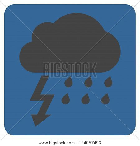 Thunderstorm vector pictogram. Image style is bicolor flat thunderstorm pictogram symbol drawn on a rounded square with cobalt and gray colors.