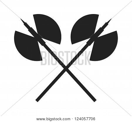 Axe black isolated silhouette and sharp axe cartoon weapon icon isolated on white and wooden axe cartoon flat icon of handle wood work equipment vector illustration.