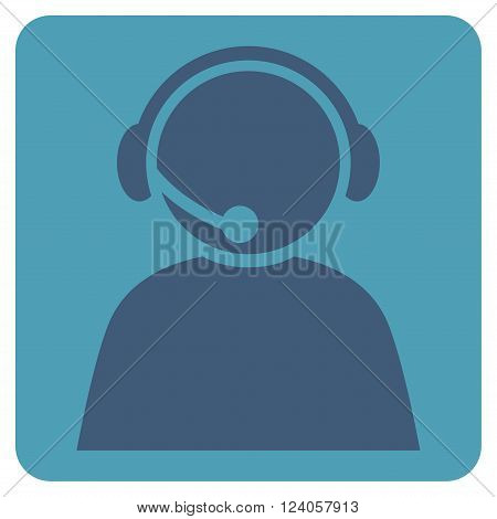Call Center Operator vector symbol. Image style is bicolor flat call center operator pictogram symbol drawn on a rounded square with cyan and blue colors.