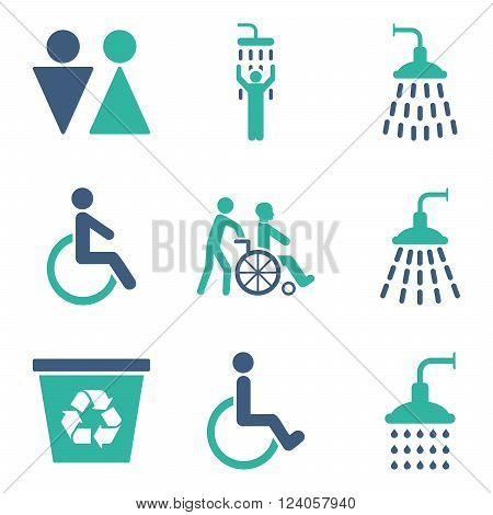 Toilet and Shower vector icon set. Style is bicolor cobalt and cyan flat symbols isolated on a white background.