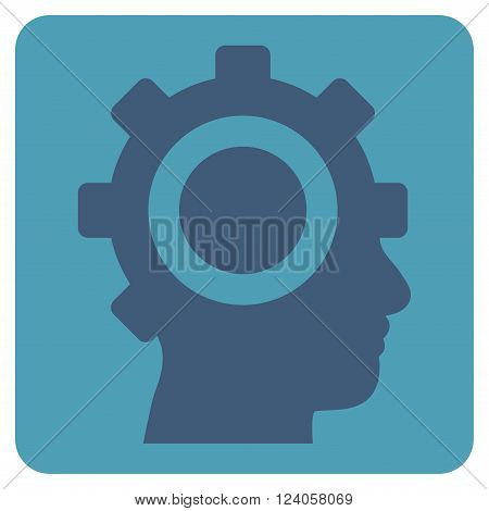 Cyborg Gear vector icon symbol. Image style is bicolor flat cyborg gear iconic symbol drawn on a rounded square with cyan and blue colors.