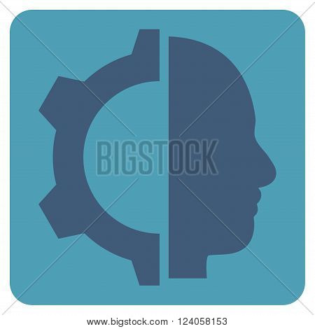 Cyborg Gear vector icon symbol. Image style is bicolor flat cyborg gear icon symbol drawn on a rounded square with cyan and blue colors.