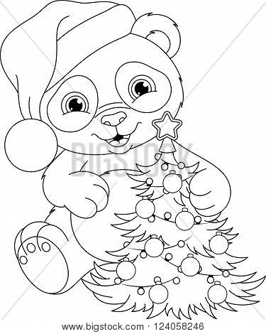 Cute Panda with Christmas tree, coloring page